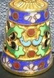 Vingerhoed, cloisonné - bloemenrand - Thimble, cloisonne - flower band