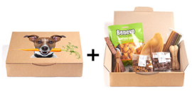 Startpakket hond met proefzakjes + snackpakket Dribbel (middelgrote hond)