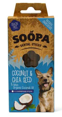Soopa Dental Sticks - Kokosnoot en Chiazaad