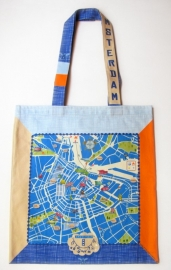 tote bag . amsterdam map . blue