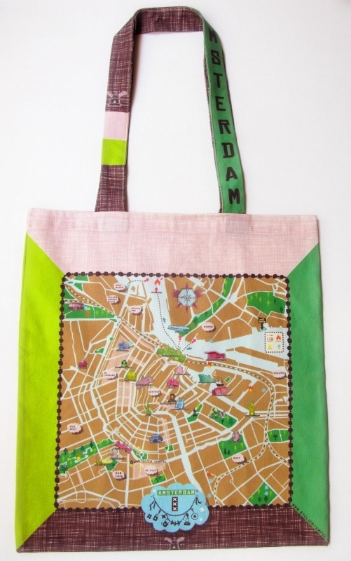tote bag . amsterdam map . brown