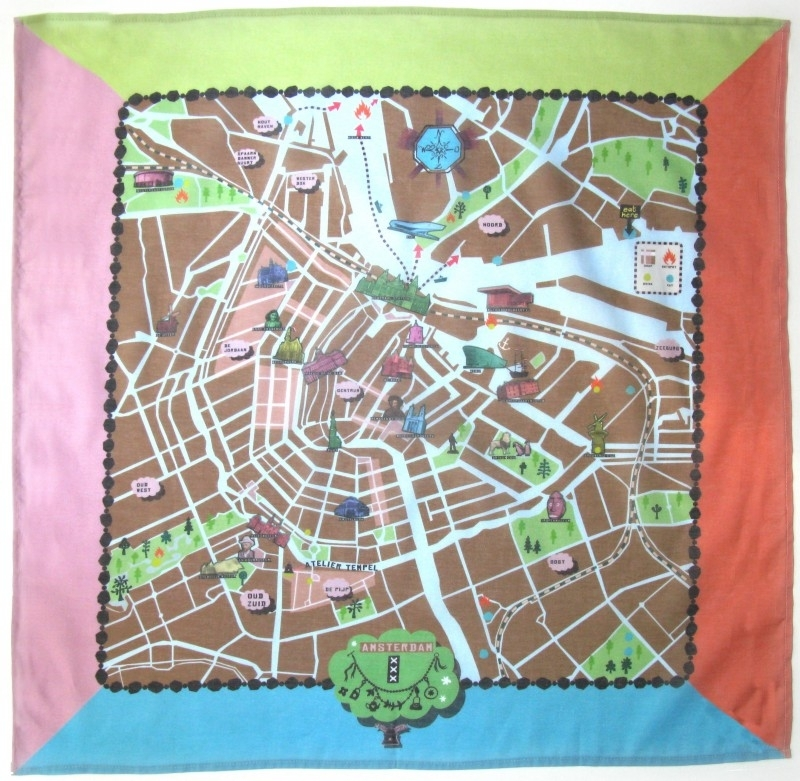 scarve . amsterdam map . brown