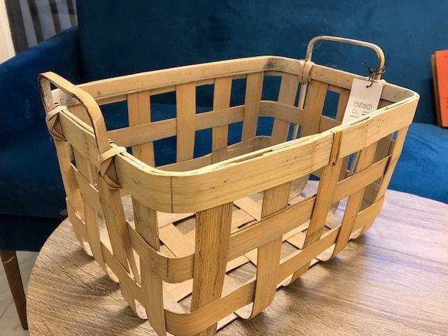 Hubsch bamboe/rieten manden met handgreep (klein)