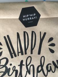 Hip Hip Hurray [Sluit] Stickers   Zwart/Wit   50x50 mm   10 stuks