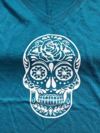Mexican Sugar Skull | Ladies T Shirt V Neck | Medium | Galapagos Blue