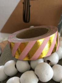 Washi Tape - Masking Tape | Roze met metallic gouden diagonaal streep