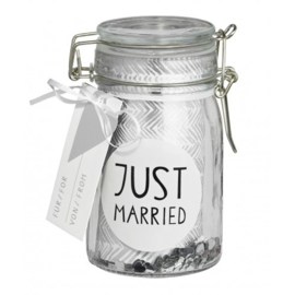 GESCHENK VERPAKKING GLAS JUST MARRIED | RÄDER | ART. 13243