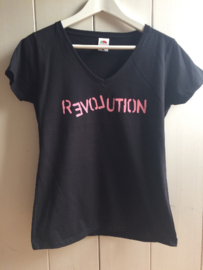 Love Revolution | Lady Fit V-Hals T Shirt | Extra Large | Zwart
