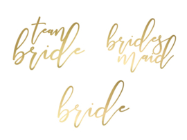 TIJDELIJKE TATTOO SET TEAM BRIDE - BRIDES MAID - BRIDE  | GOUD | SET VAN 15 |  VRIJGEZELLENFEEST BACHELORETTE HEN PARTY