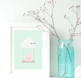 Cloud Swing | A4 kinderkamer poster print | Land of Kids