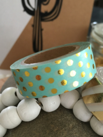 Washi Tape - Masking Tape | Mint Groen Metallic Gouden Stippen