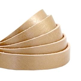 PLAT LEER DQ | BREED 10 MM | LENGTE 90 CM | METALLIC CHAMPAGNE