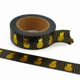 Washi Tape - Masking Tape | Zwart met metallic gouden ananas print