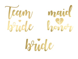 TIJDELIJKE TATTOO SET TEAM BRIDE MAID OF HONOR BRIDE  | GOUD | SET VAN 13 |  VRIJGEZELLENFEEST BACHELORETTE HEN PARTY
