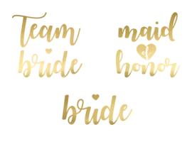 TIJDELIJKE TATTOO SET TEAM BRIDE MAID OF HONOR BRIDE  | GOUD | SET VAN 13 |  VRIJGEZELLENFEEST BACHELORETTE HEN PARTY