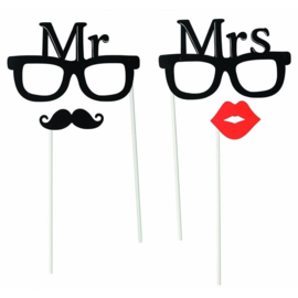 PHOTO BOOTH SET MR & MRS | 4-DELIG | PHOTO PROPS | FOTO PROPS BRUILOFT