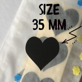 Hart [Sluit] Stickers | Zwart | 35x35 mm | 12 stuks