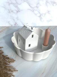 Storefactory Lidatorp Daisy Kandelaar Decoratieschaal L Ø21 cm | Mat wit | Collectie SS 2021