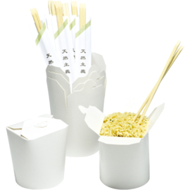 WOK TO GO BEKER | SET VAN 6 INCL BAMBOE CHOPSTICKS | WIT | 920 ML