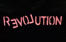 Love Revolution | Lady Fit V-Hals T Shirt | Medium | Zwart