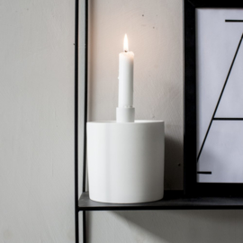 Kandelaar en opbergpot  Kolboda Ø12 cm x 15 cm hoog | mat wit | Storefactory
