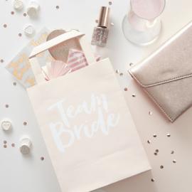 UITDEELZAKJES GOODIE BAGS TEAM BRIDE | WIT ROZE MET TEKST | 5 STUKS | TEAM BRIDE |  GINGER RAY