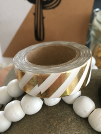 Washi Tape - Masking Tape | Wit met metallic gouden diagonaal streep
