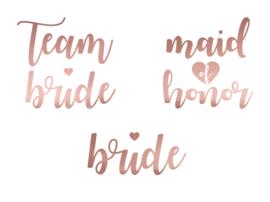 TIJDELIJKE TATTOO SET TEAM BRIDE MAID OF HONOR BRIDE  | ROSEGOUD | SET VAN 13 |  VRIJGEZELLENFEEST BACHELORETTE HEN PARTY