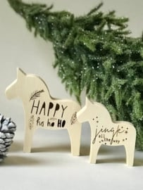 HOUTEN DALA PAARDEN  | SET/2 8x7 + 10x9.5 cm | JINGLE ALL THE WAY * HAPPY HO HO HO