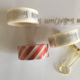 Washi Tape - Masking Tape | Wit met metallic rode opdruk | Foil Candystripe