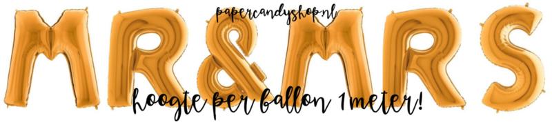 Folie Ballon Slinger Mr & Mrs | XXL | Goud | 1 meter hoog per letter | Ballonslinger | Folieballon