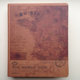 Kraft ringband met antieke landkaart van Frankrijk, met inhoud