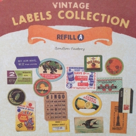 Vintage labels & Stickers, set van 3 bladen.