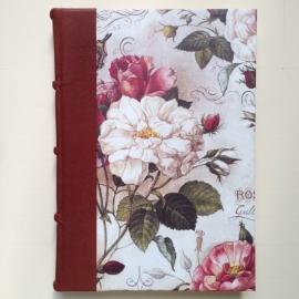 Handgemaakt notitieboek/ schrift *GROOT formaat* met bruin leren kaft en antieke rozen tekening