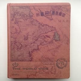 Kraft ringband met antieke kaart van `oud America`, met inhoud