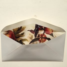 Envelop met prachtige binnenkant/ lining van vintage vogeltekeningen.