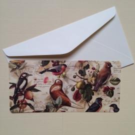 Postkaart met prachtig rijk design van vogels, inclusief envelop. *** Uitverkocht ***
