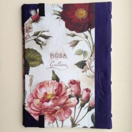 Handgemaakte Ipad mini cover met leren rug en vintage tekening van rozen.