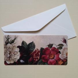 Postkaart met prachtig vintage bloemen design, inclusief envelop. *** Uitverkocht ***