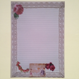 Paperfloow`s prachtige briefpapier, met mooi kant en vintage rozen (per 10 vel).