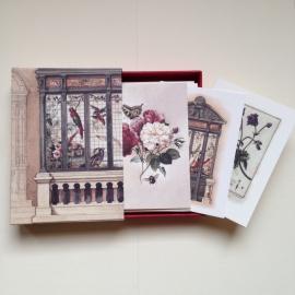 Handgemaakte bewaarbox met 10 stuks prachtige vintage (post)kaarten met enveloppen