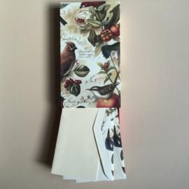 *** UITVERKOCHT *** Handgemaakte bewaarbox met 10 stuks prachtige enveloppen met vogels en creme briefpapier