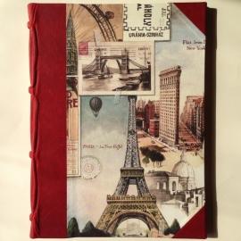 Handgemaakte Ipad cover/ hoes met rode leren rug en vintage tekeningen van reisherinneringen.