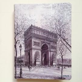 *** UITVERKOCHT *** Prachtige ringband met vintage pentekening van Arc de Triomphe, Parijs GROOT formaat * Met Inhoud *
