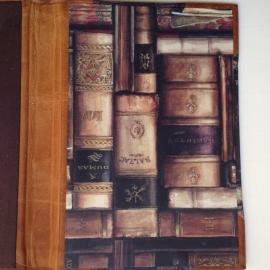 Handgemaakte Ipad mini cover met leren rug en vintage tekening van oude boeken.