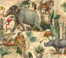 Prachtig decorpapier met vintage tekeningen van wilde dieren; vele toepassingen