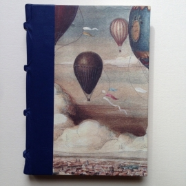 Handgemaakt notitieboek/ schrift met blauw leren kaft en vintage luchtballonnen tekeningen