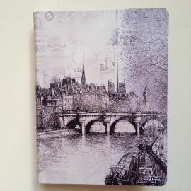 Vintage pentekening ringband, GROOT formaat, van brug over water in Parijs * Met Inhoud *