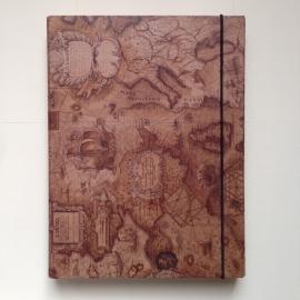Bewaarbox voor schriften en documenten met antieke wereldkaart design
