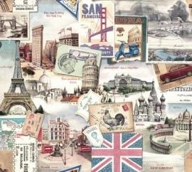 Prachtig decor papier met vintage reisherinneringen voor vele toepassingen